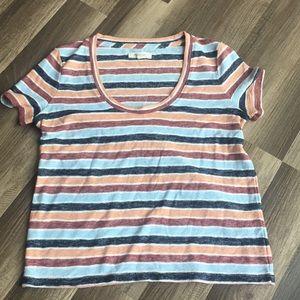 Madewell XXS blue orange red striped Tshirt top